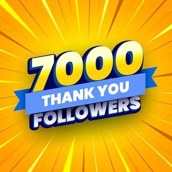 7000 seguaci banner con nastro blu