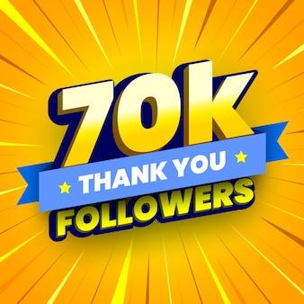 Banner di 70000 seguaci con nastro blu