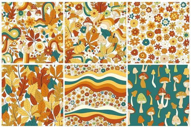 Set di modelli retrò senza cuciture hippie hippie anni '70. collezione di motivi floreali vettoriali vintage. sfondo floreale ondulato con arcobaleno, foglie, funghi, zucca, fiori. stampa hippie doodle per tessuto, carta da parati
