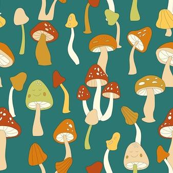 Modello senza cuciture di vettore di funghi retrò anni '70. groovy motivo floreale vintage ripetuto con funghi, agarico di mosca. simpatico fungo hippie stampa per carta da parati, banner, design tessile, tessuto, involucro