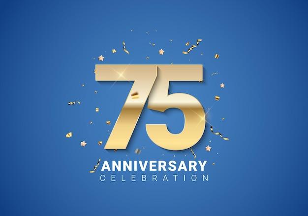 Sfondo del 75 ° anniversario con numeri dorati coriandoli stelle su sfondo blu brillante