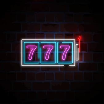 777 illustrazione dell'insegna al neon delle slot machine