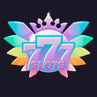 Simbolo di 777 slot, ricompensa del casinò con corona di diamanti per i giochi dell'interfaccia utente.