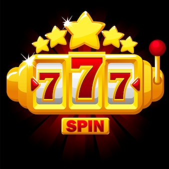 Simbolo 777 slot, simbolo jackpot, emblema dorato con stelle