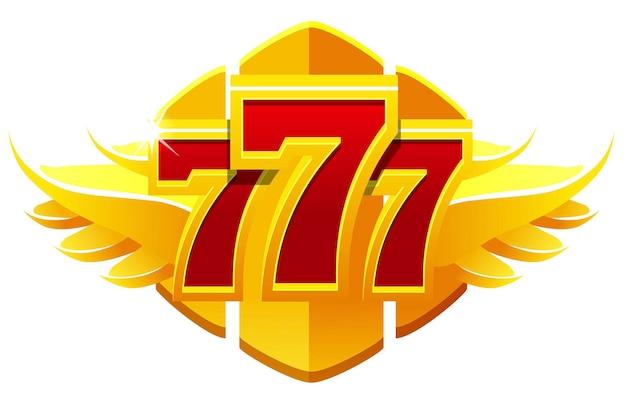 Simbolo di 777 slot, segno del jackpot, emblema del gioco d'azzardo d'oro per i giochi dell'interfaccia utente