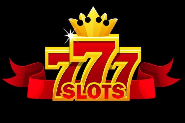 Simbolo 777 slot, segno jackpot con nastro rosso e corona d'oro per i giochi dell'interfaccia utente