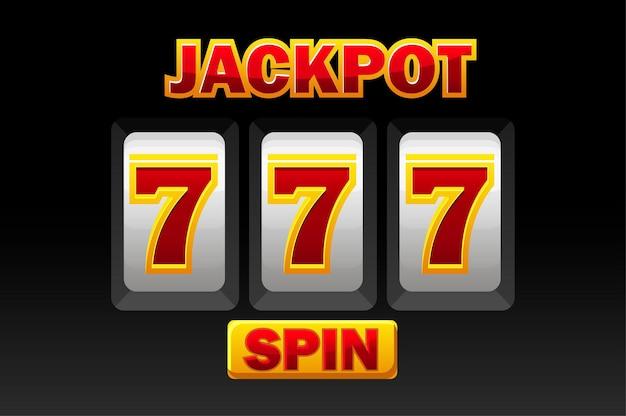 Simbolo 777, jackpot nero della slot machine per il gioco dell'interfaccia utente, illustrazione
