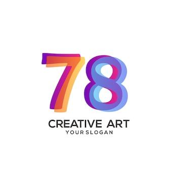 78 numero logo gradiente design colorato