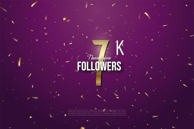Sfondo 7k follower con numeri d'oro e illustrazione di punti.
