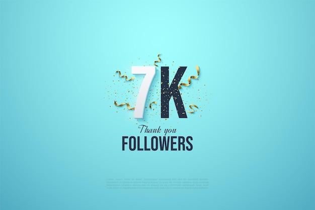 Sfondo di 7k follower con una festa festiva che decora i numeri.