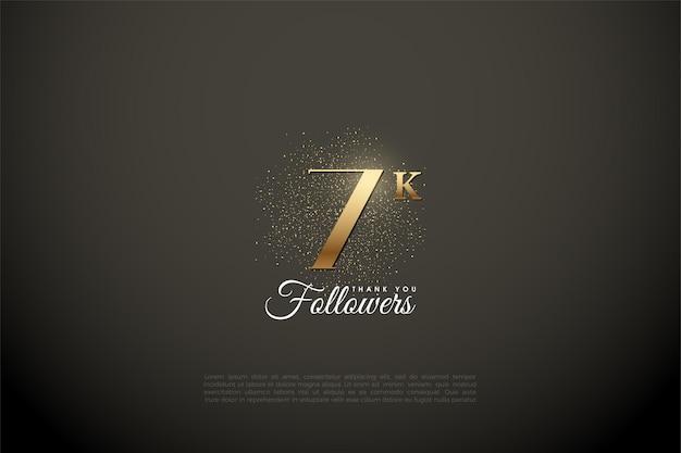 Sfondo di follower 7k con cifre d'oro e glitter.