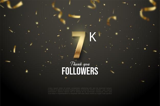 Sfondo di seguaci 7k con numeri illustrati inondati di nastri d'oro.
