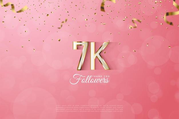 7k seguaci sfondo con illustrazione di numeri delineati con bordi in oro di lusso.
