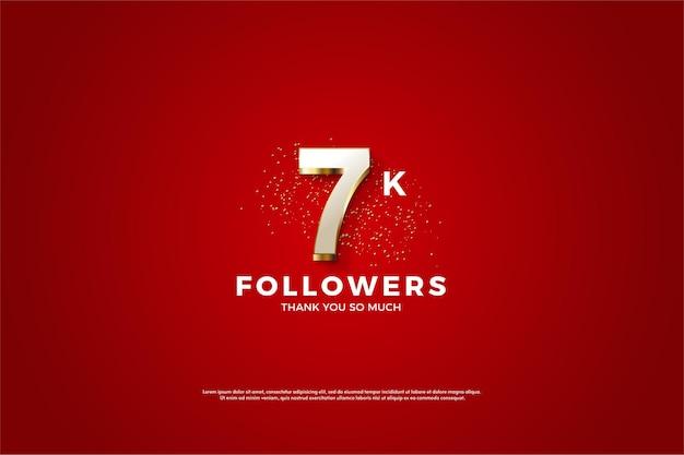 Seguaci da 7k con sovrapposizione di numeri in oro fantasia