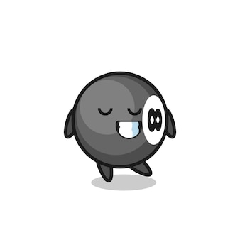 Illustrazione di cartone animato di biliardo a 8 palle con un'espressione timida, design in stile carino per maglietta, adesivo, elemento logo