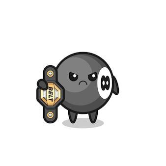 Personaggio mascotte da biliardo a 8 palle come combattente mma con la cintura del campione, design in stile carino per t-shirt, adesivo, elemento logo