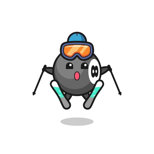 Personaggio mascotte da biliardo a 8 palle come giocatore di sci, design in stile carino per maglietta, adesivo, elemento logo