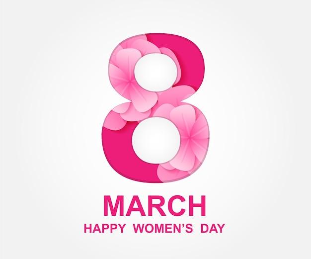 8 marzo. giorno della donna felice. disegno di carta con arte di carta e fiori rosa.