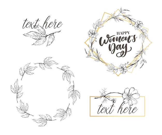 8 marzo. carta di congratulazioni felice giorno della donna con corona floreale lineare