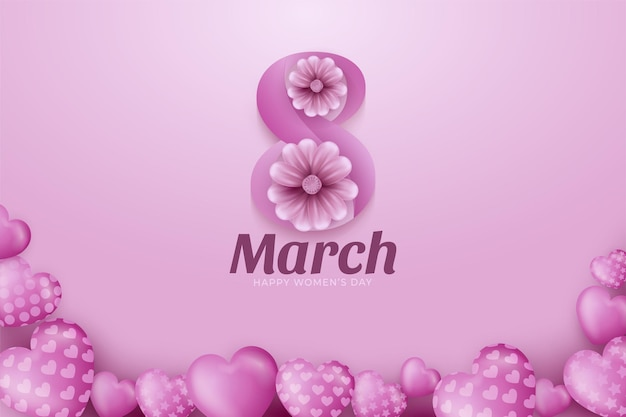 8 marzo. biglietto di auguri floreale di felice festa della donna.