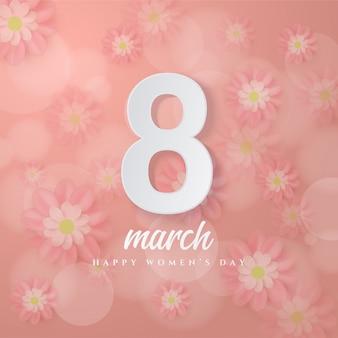 8 marzo numeri 8 bianco 3d contro un fiore rosa.