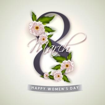 8 marzo testo decorato con fiori lucidi