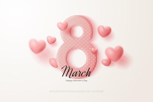 8 marzo con numeri 3d e palloncini rosa.