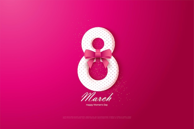 8 marzo con numeri rossi 3d e nastro.