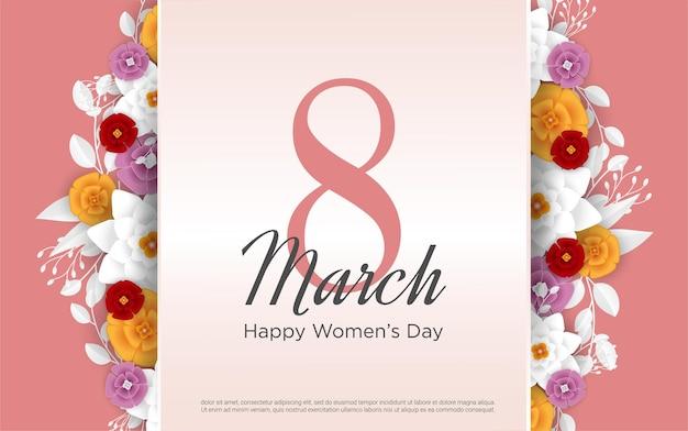 8 marzo con numeri con fiori