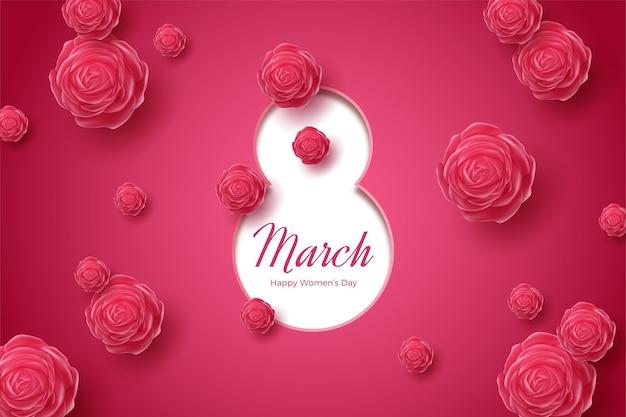 8 marzo con numeri pressati e rose rosse.