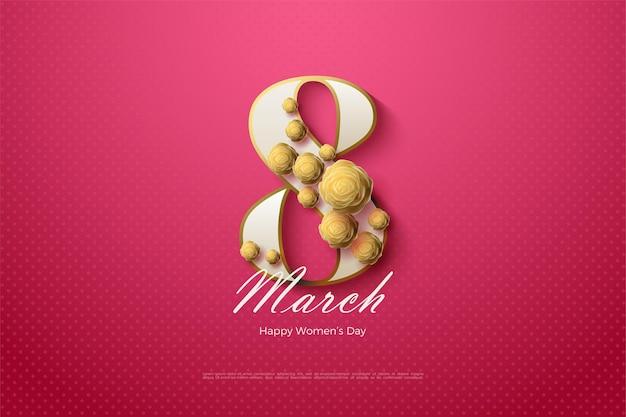 8 marzo con numeri bianchi e rose d'oro.