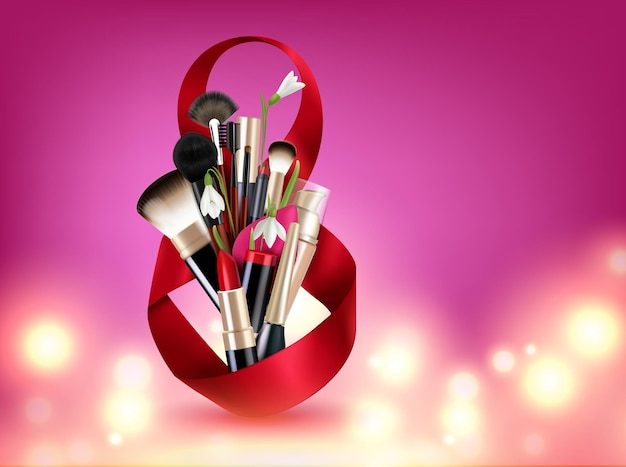 8 marzo composizione del giorno della donna con otto a forma di nastro, fiori e illustrazione di pennelli cosmetici