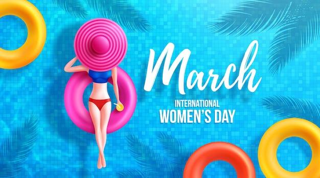 8 marzo giornata della donna poster o striscione con il simbolo 8 di donne su galleggianti rotondi e grande cappello in piscina.