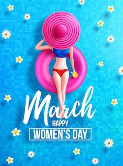 8 marzo giornata della donna poster o striscione con il simbolo 8 di donne su galleggianti rotondi e grande cappello in piscina. Vettore Premium