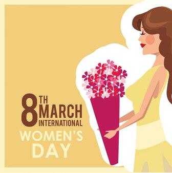 Fiori del mazzo della ragazza della carta del giorno delle donne di 8 marzo