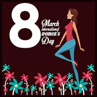 8 marzo giorno carta ragazza allegra