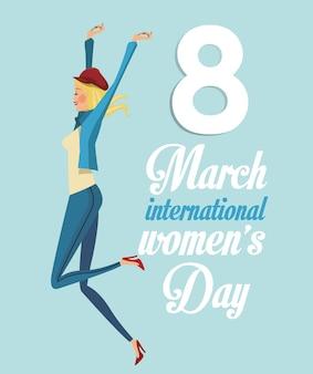 8 marzo giorno ragazza internazionale divertente