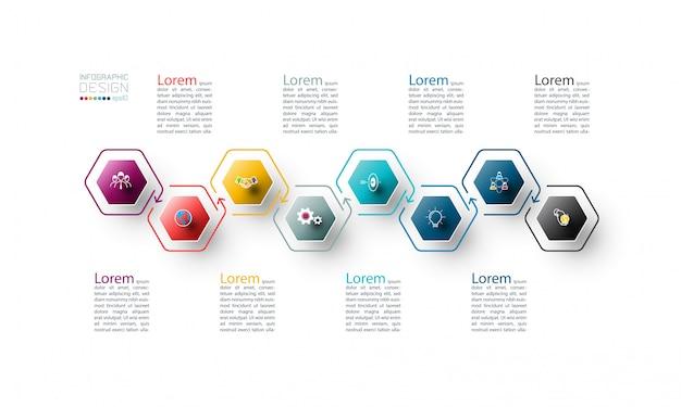 Modello di infografica esagono colorato 8 passaggi.