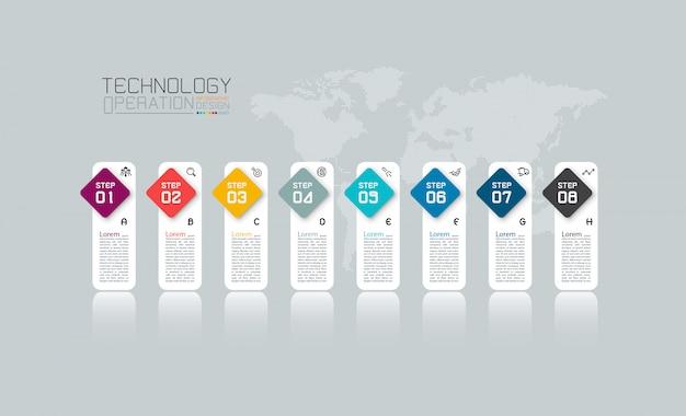 Modello di infografica colorato in 8 passaggi. Vettore Premium