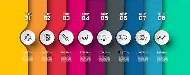 Modello di infografica colorato in 8 passaggi.
