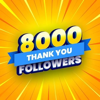 Banner di 8000 seguaci con nastro blu