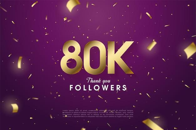 80k seguaci con numeri e illustrazione di carta oro su sfondo viola.