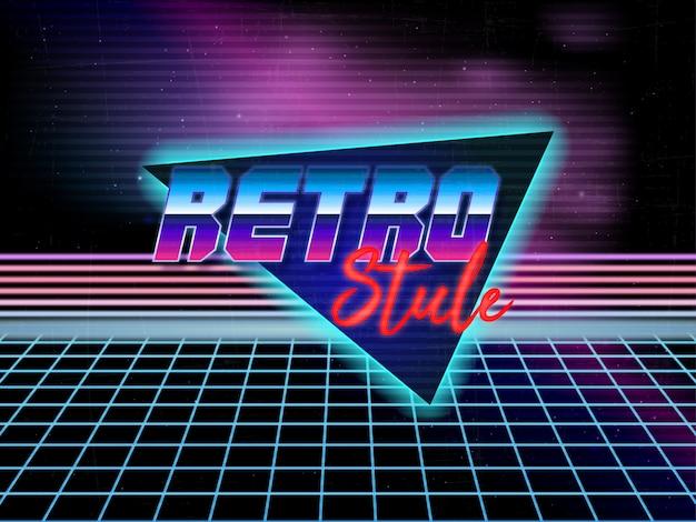 Vettore editabile del testo del retro fondo 80s