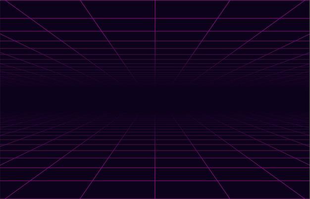 Griglia di viaggio nello spazio al neon degli anni '80