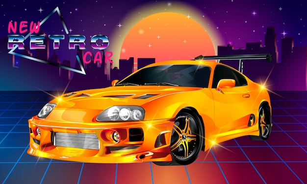 Auto retrò di fantascienza anni '80. vector l'illustrazione retro dell'onda del retro synth futuristico nello stile degli anni 80.