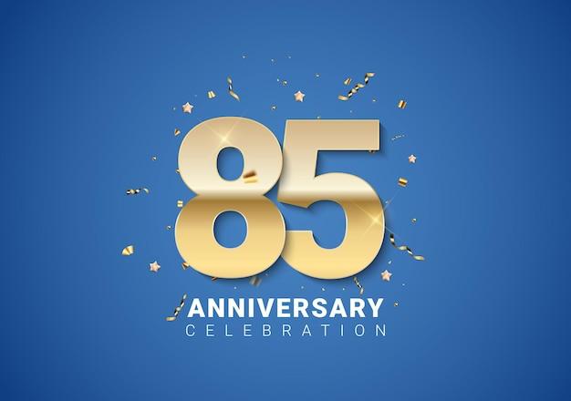 Sfondo dell'85 anniversario con numeri dorati, coriandoli, stelle su sfondo blu brillante. illustrazione vettoriale eps10