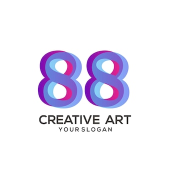 88 numero logo gradiente design colorato