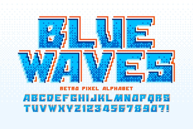Alfabeto colorato a 8 bit con logo design