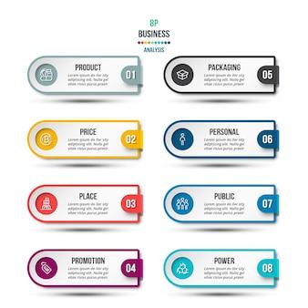 Modello di infografica aziendale o di marketing di analisi 8p