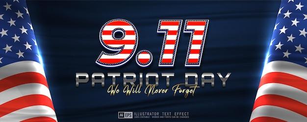 9,11 patriot day banner orizzontale sfondo